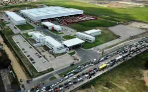 Vista aérea da fábrica SOLAR. Foto: arquivo Coca-Cola.